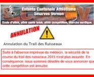 ANNULATION du trail des ruisseaux !!!
